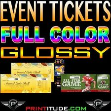 """500 Event Tickets 100LB GLOSSY 2""""x5.5"""" Full Color With Numbering and Perforation"""