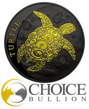 2016 Niue Taku Turtle 1 Oz Silver Coin- Black Ruthenium And 24kt Gold Gilded