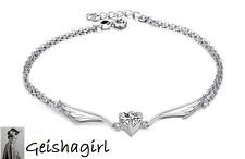 925 Sterling Silver Jewellery Fashion Angel Wings Clear CZ Gem Anklet Ankle UK