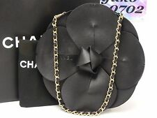 k5696 Rare! Auth CHANEL Black Lamb Skin Camelia Chain Hand Clutch Bag Gold HW