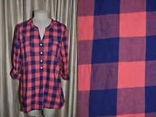 OLD NAVY sz L Buffalo Plaid Y-Neck Tabbed Roll Sleeve Flannel Shirt Tunic Top