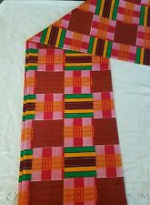 African Kente Wax Print Cloth Fabric Bright Bold Permanent Colors Sold Per Yard