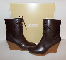 New MICHAEL KORS Rory Women's Dark Chocolate Leather Wedge Boots NIB size US 8
