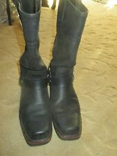 FANTASTIC WOMENS HARLEY DAVIDSON BLACK LEATHER HARNESS MOTORCYCLE BOOTS 7.5 LQQK