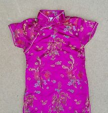 GIRLS Chinese Asian Oriental Pink Cerise Short Sleeve Dress Satin Look 8-9 Yrs