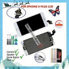 "For iPhone 6 Plus 5.5"" LCD Touch Screen Digitizer Home Button & Camera White UK"