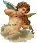 C. 1880 vintage Victorian die cut paper scrap, Violin playing angel