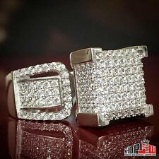 White Gold Finish .925 Silver Simulated Diamond Mens Hip Hop Ring Pinky Size 8