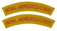 British ROYAL ARMOURED CORPS Army Regiment SHOULDER TITLES Uniform Flashes WW2
