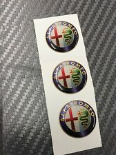 3 Adesivi Stickers ALFA ROMEO Old Color 12 mm 3D resinati telecomando chiavi