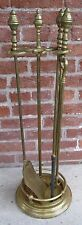 Classic 19C Federal Style Brass Fireplace Tool Set Heavy 3pc Stand
