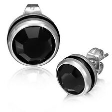 Stainless Steel Black Silver-Tone Round Classic Crystals CZ Stud Earrings