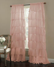 "Gypsy Ruffled Sheer Curtain Panel, Pink, 60"" wide by 63"" long, Lorraine Home"