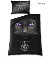 Spiral Direct BEDDING Single Duvet & Pillowcase BLACK CAT Pentagram
