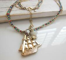 Aerie American Eagle Nautical Ship Fish Sword Charm Layer Chain Bead Necklace Y9