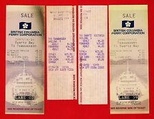 4 British Columbia Ferry Tickets ~ Swartz Bay to Tsawwassen - Canada 1980s 1990s