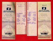 4 British Columbia Ferry Tickets - Swartz Bay to Tsawwassen - Canada 1980s 1990s