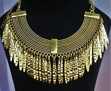 Egyptian Gold Long Chunky Dangle Spiked Choker Collar Necklace Chain Goth Punk