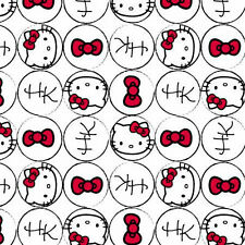 "Hello Kitty faces Bow and Dots allover 100% cotton 43"" Fabric by the yard"