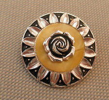 Vintage MOP Mother of Pearl Effect 3D ROSE SCARF RING CLIP 1960's