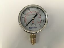 Hydraulic Pressure Gauge 63mm Bottom Entry 0-90 PSI 6 Bar Stainless GB6306/04