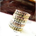 Retro Design Rings Copper Color Retro Style Cool Ring With Positive Words 1pc
