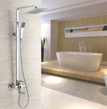 "Bathroom 8"" Square Rainfall Shower Faucet Set Tub Mixer Tap with Hand Spray"