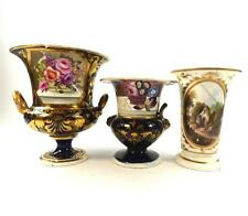 C1815-1840 THREE ANTIQUE ENGLISH PORCELAIN VASES FLOWERS INCLUDING DERBY