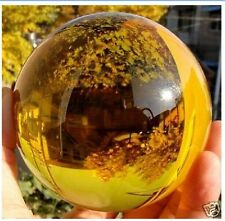 Asian Rare Natural Quartz Yellow Magic Crystal Healing Ball Sphere 100mm+Stand@#