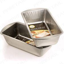 2 x DEEP RECTANGLE BAKEWARE TIN Oven Bake Tray Mould Pan Loaf Cake Bread Baking