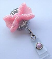 New! Retractable Reel Full Bling ID Badge Holder handmade Pink Bow Rhinestones