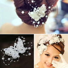 Lovely Bridal Butterfly Rhinestone Pearl Lace Hairpin Wedding Hair Clip