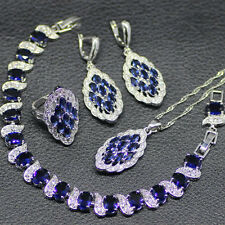 Blue Sapphire 925 Silver Necklace Pendant Earrings Rings bracelets Set 6 7 8 9