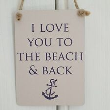 I LOVE YOU TO THE BEACH & BACK CHIC N SHABBY MINI SIGN NAUTICAL ANCHOR THEME