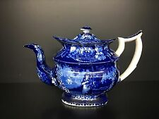 Antique Teapot Dark Blue Staffordshire Tea Pot Transferware England, 1815-1830