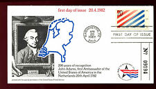 USA 1982 Diplomatic relations, John Adams, Netherlands FDC Card #C36230