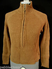 WOOLRICH Mock neck Sweater top womens XS/S Brown 1/2 Zip up Ribbed long sleeve