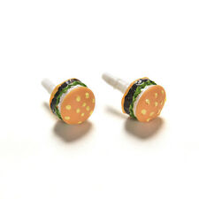 3.5mm Lovely Hamburger Anti Dust Earphone Plug Mobile Phone Accessories 2x AE11