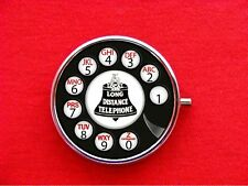 ROTARY PHONE TELEPHONE DIAL VINTAGE POP ART RETRO ROUND METAL PILL MINT BOX CASE