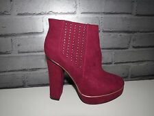 Brand New Women's Love Label Studs Design Burgundy Boots, high Hells Uk 5