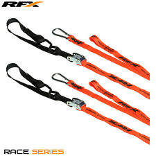 RFX Race Series 1.0 Tie Downs (Orange/Black) + extra loop & carabiner clip KTM