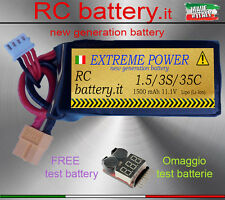 BATTERIA 1500 mAh 11.1V 3S 35-70C LIPO - FOR ALL  RC -(Alternative TURNIGY)