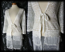 Gothic Cream Sheer Lace LAST BREATH Tie Jacket Shrug 16 18 Victorian Vintage