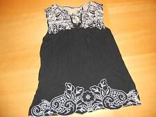 FILTRE ANTHROPOLOGIE BLACK EMBROIDERED CROCHET TRIM TUNIC SHIRT TANK TOP XS