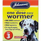 Johnsons One Dose Easy Roundworm Wormer Worming Tablets Large Dogs 6kg - 40kg