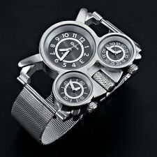 Quartz Watch Dual Time Zone OULM Men's Sports Military Style Stainless Steel