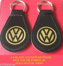 2 Nero Vera Pelle Portachiavi VW UP JETTA GOLF BEETLE PASSAT FOX POLO SCIROCCO