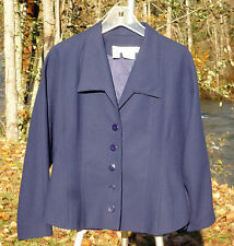 Simon Chang Size 8 Blue Short Waisted 5 Button Wool Blazer orJacket