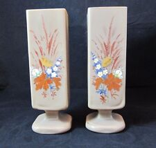 Pair of Opaque Brown Milk Glass Hand Painted Floral Design Square Pedestal Vases