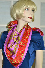 "NWT $320 Auth VERSACE Atelier Pink Red VENETIAN Baroque Silk 35"" Large scarf"